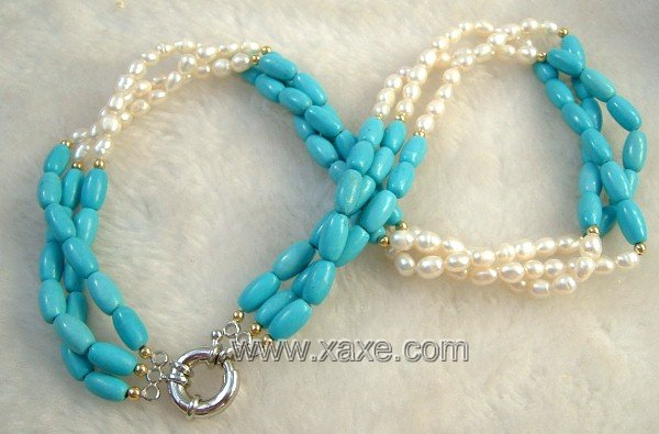 3 strand Real white freshwater pearl & turquoise necklace