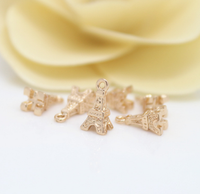 10 pcs 24k gold plated eiffel tower pendant brass spacer beads  brass caps brass connector