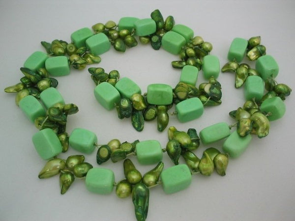36'' long green turquoise bead & biwa pearl necklace