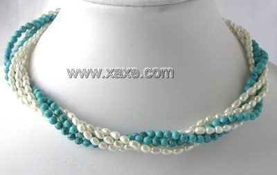 "17"" Five rows white pearl blue turquoise necklace"