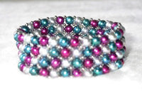 "7.5"" 4-5mm multicolor pearl bracelet with silver ball"