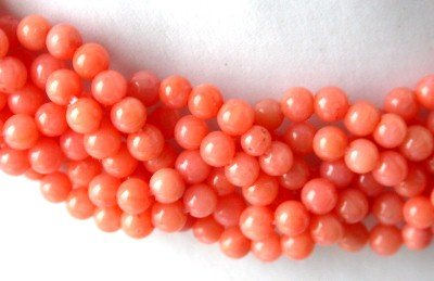 "9k 16"" 6-strands pink round coral knotted necklace"