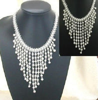 "16"" pearl crystal necklace wedding"