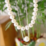 "16"" 2 row white pearl necklace 925 silver chain"