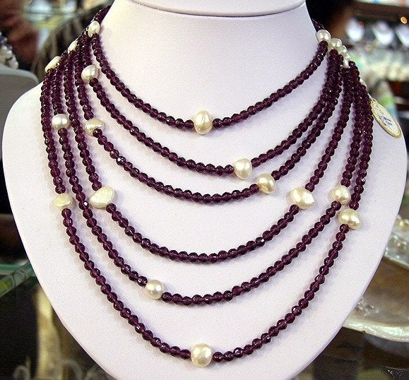 STUNNING 6rows White Cultured Pearl Amethyst Necklace