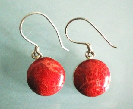 Red coral earrings oval shape
