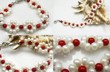 Floral coral and pearl bracelet