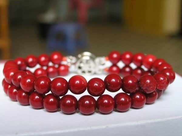 EXCELLENT 2ROWS 8'' RED CORAL BRACELET 925s