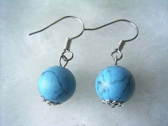 Blue turquoise bead earrings 14kgp hook