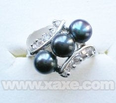 3pcs freshwater pearl ring with rhinestone - black color
