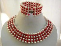 "16"" pearl coral necklace choker set"