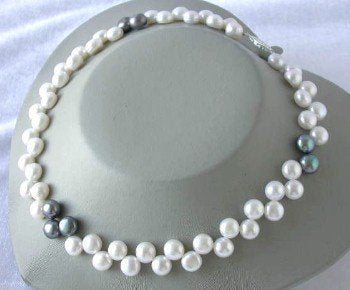 "16""8-9mm white black floral pearl necklace"