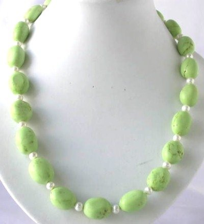 "19"" beauty green turquoise beads white pearl necklace"