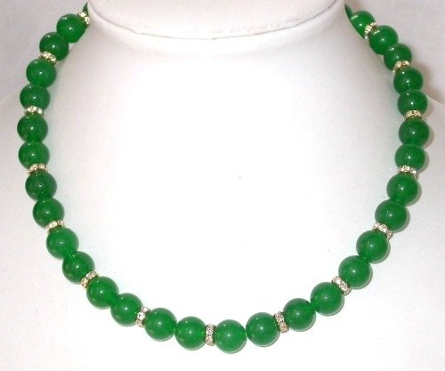 Gorgeous 17'' 10mm green jade beads rhinestone necklace