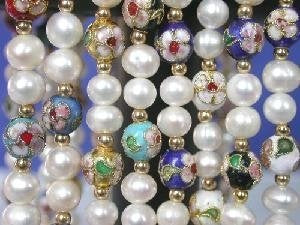 "wholesale of 8 pieces of 17"" FW pearl&cloisonne beads necklace"