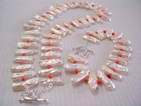 "18""/7.5'' biwa pearl /coral bead necklace/bracelet set"