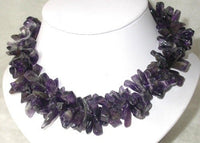 Elegant 16'' 5x15mm double natural amethyst necklace
