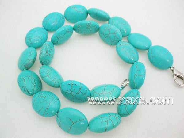Cyan color turquoise bead necklace - small oblong shape