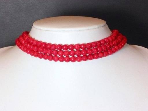 Necklace 3 strands red coral bead choker