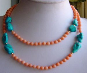 36'' long pink coral and turquoise bead necklace