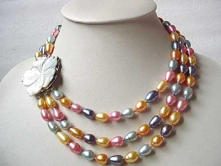 COLORFUL FW PEARL NECKLACE WITH 2-PAIR EARRING