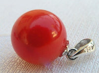 10mm red coral pendant
