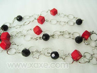47'' Facet Agate and Coral Long Necklace