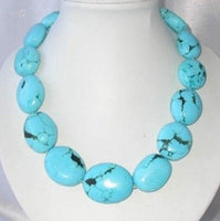 "19"" bigger blue turquoise beads necklace"