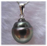 Peacock Black Water Drop Shape Tahitian Pearl Pendant