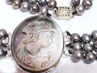 3row FW Pearl Cameo clasp necklace & bracelet