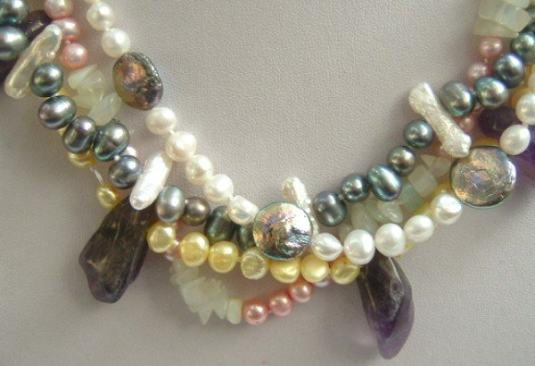 Multicolor gem Fw pearl necklace moonbeam clasp