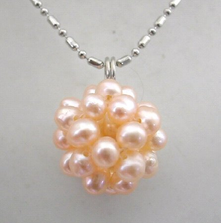4mm pink freshwater pearl ball pendant