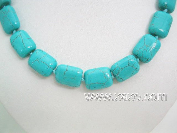 Cyan color turquoise bead necklace - small rectangular