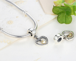 925 Sterling Silver Charm Adorable double heart Bead Fits Pandora, Biagi, Troll, Chamilla and Many Other European Charm