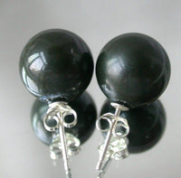 Beauty 12mm tahitian black Seashell pearl silver stud earring