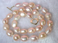 classic 18'' 13mm baroque pink cultured pearls necklace