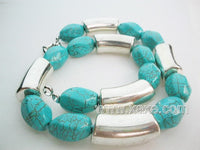 Cyan color turquoise facet bead and tibet silver necklace