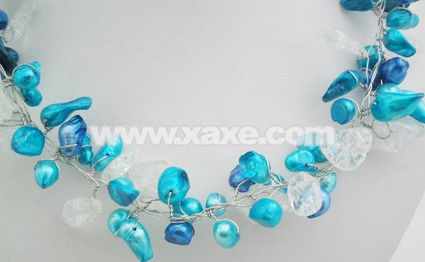19'' handwork 10mm blue pearl & crystal wire necklace