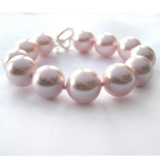 8'' HUGE 14MM Pink seashell pearl bracelet 925S