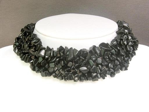 Necklace Black Onyx Chips Knit Choker Colla