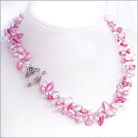 "18"" pink pearl white crystal necklace silver clasp"
