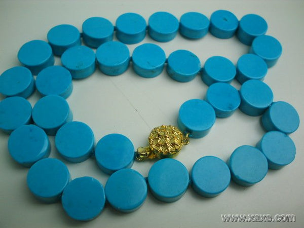"17"" exquisite 12mm blue button turquoise necklace"