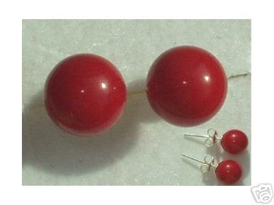 Excellent 7MM RED CORAL EARRING 14KG STUD