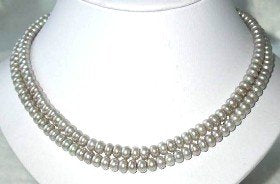 "17""-18"" 6-7mm gray pearl necklace bracelet set"