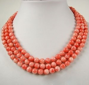 17inch 3 strands 7mm Pink Coral Necklace