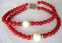 "7.5"" 2 rows red coral and Tridacna coral bracelet"