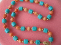 "17"" pink coral turquoise column necklace"