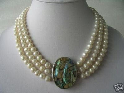 "18""-20"" 3-strands white pearl &Abalone shell clasp"