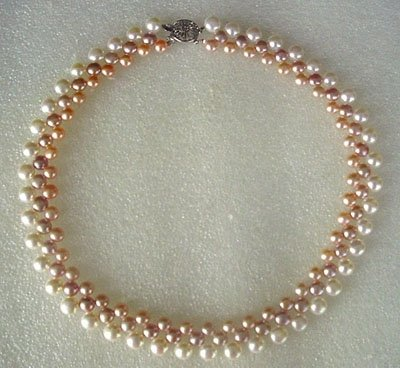 17'' 3-color button pearl necklace