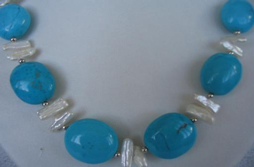 "18"" exquisite biwa pearl/turquoise necklace"